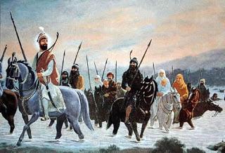 Guru Gobind Singh Ji crossing the Sarsa River