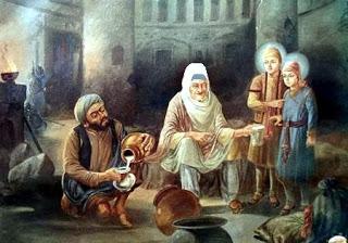 Moti Mehra pouring milk for the tender sons of Guru ji