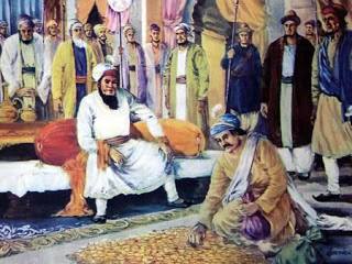 Todar Mal paying in gold for the land required to cremate the Sahibzaadey